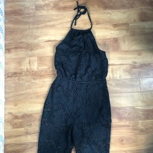 A&F NWT halter top boot cut jumpsuit with lace